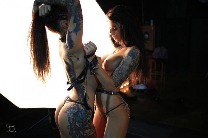 Hot Ass Tattooed Babes Pose In The Dark 13