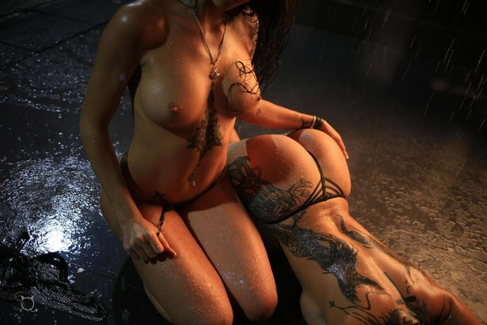 Hot Ass Tattooed Babes Pose In The Dark 25
