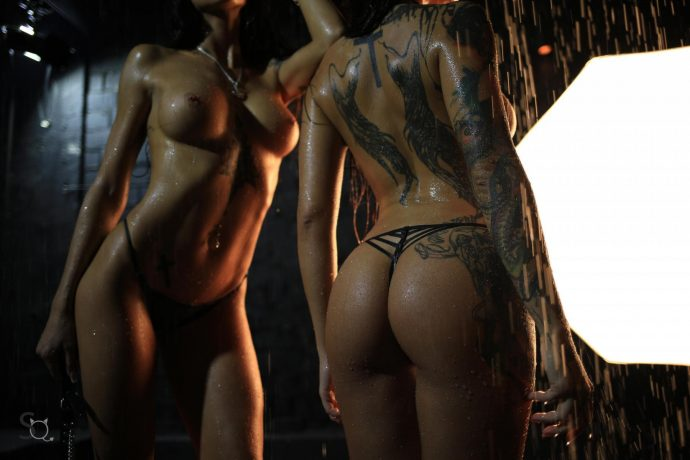 Hot Ass Tattooed Babes Pose In The Dark 34