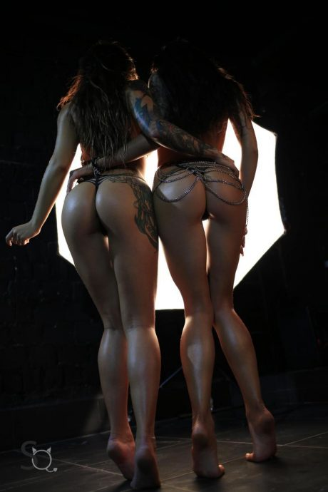 Hot Ass Tattooed Babes Pose In The Dark 8