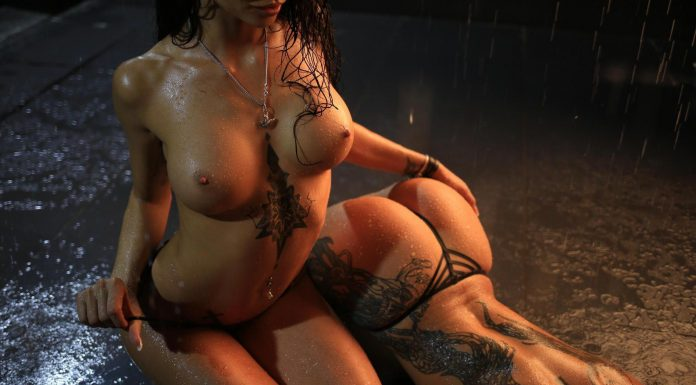 Hot Ass Tattooed Babes Pose In The Dark