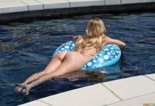 Cherie Deville has the perfect ass and she s not afraid to show it by the pool wearing a blue swiming suit 8 greatnass.com_
